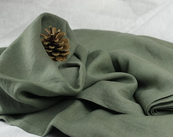 Green/Grey color 100 % washed Linen fabric (200 g/m2). Densely woven, softened, washed linen Green/Grey color fabric