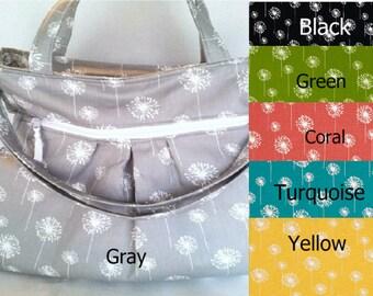 Gray Dandelion Diaper Bag, Tote Bag, cross body bag, gray diaper bag,  cloth diaper bag, nappy bag
