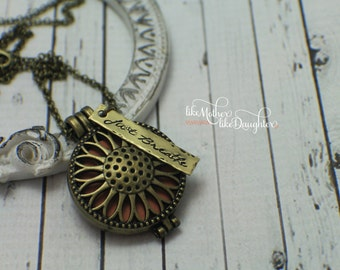 Personalized Aromatherapy Essential Oil Diffuser Locket Pendants - Sunflower, Heart Shaped and Heart in Round - Brass Locket