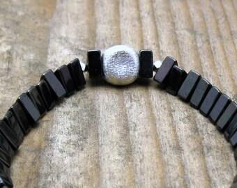 Black and Silver Minimalist Hematite Beaded Bracelet, Modern Geometric Stretch Bracelet, for Her Under 100