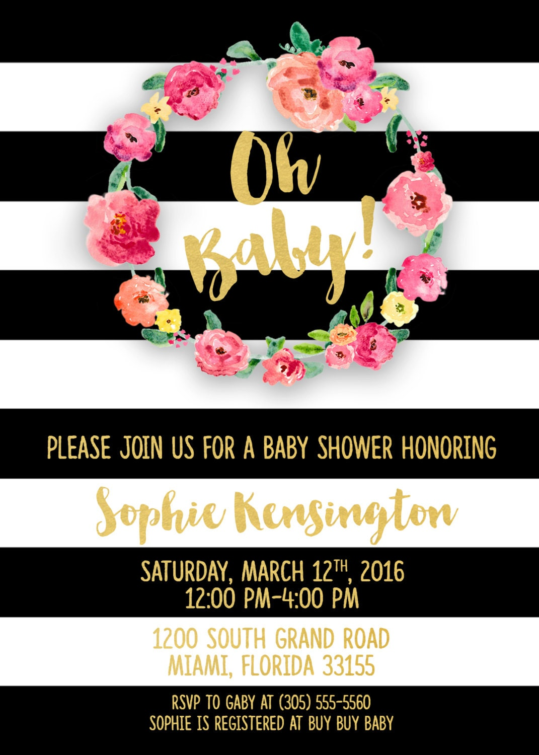 Baby shower invitation girl black and white baby shower baby shower invitation girl black and white baby shower invitation oh baby invitation pink gold baby shower invite printable invitation filmwisefo Images
