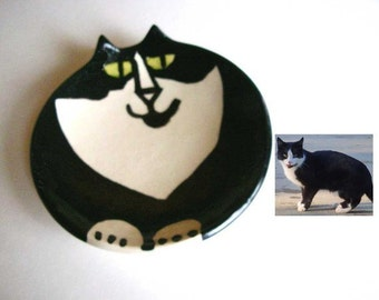 Kitty Cat Birthday Party pottery HM whimsical 6.5 inch dish by potter Custom made to order