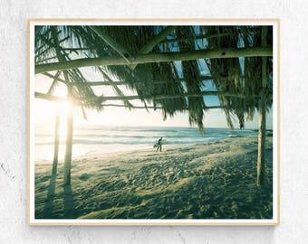 Surfer Beach Hut Art Print, Coastal Photography, Waves, Modern Minimalist, Large Surf Poster, Coastal Decor, Printable Digital Download