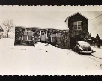 Original Antique Photograph Stone Home in Winter 1949