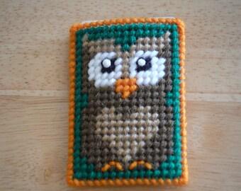 Easter Gift, Plastic Canvas Gift Card Holder Owl, needlepoint, Christmas gift, Birthday gift, Natural owl, Needlepoint owl, Owl decor