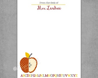 Teacher Notepad - Cheerful Red & Yellow Polka Dot Apple with Grey, Red, and Yellow ABC - Personalized Custom Notepads - Gift **Lauren**