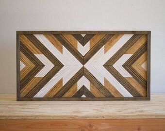 "Wood Wall Hanging - 28"" x 14"" x 1.5"" - Mixed Tones"