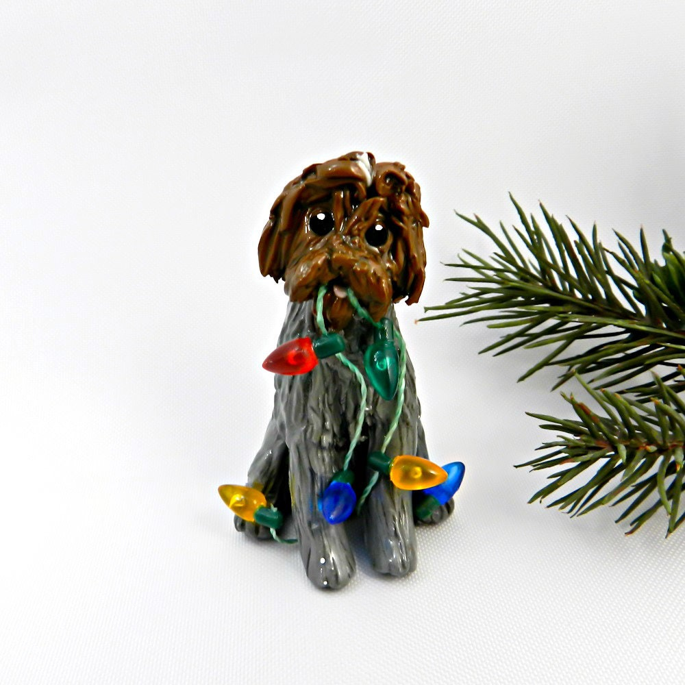 Wirehaired Pointing Griffon Porcelain Christmas Ornament Figurine Lights