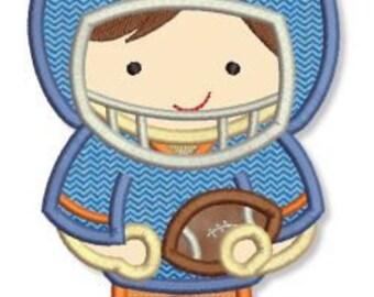 Little FOOTBALL PLAYER 1 Applique 4x4 5x7 6x10 machine Embroidery Design game cheerleader boy  INSTANT Download