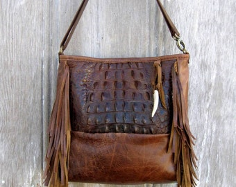 Genuine Hornback Alligator Fringe Bag Cross Body or Shoulder Length by Stacy Leigh