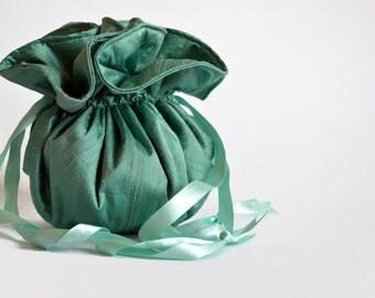 Mint Green Silk Drawstring bag, Silk bag, Mint Green Pouch, Small Pouch, Mint Drawstring Bag, Silk Pouch