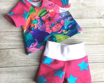 18 Inch Doll Raglan Trolls Tee Shirt and Matching Stars Shorts