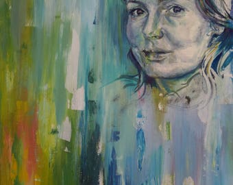 Expressive portrait painting. Green blue aqua. Contemporary oil painting.