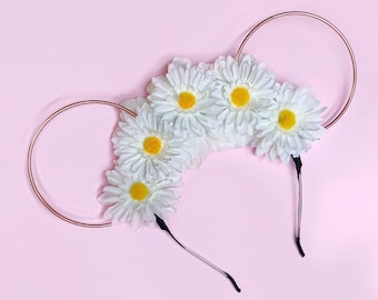 White Flower Crown and Rose Gold Wire Mouse Ears Headband