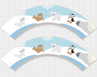Party Printable Arctic Animals Theme Party Cupcake Wrappers, polar bear, peguin, seal, fox