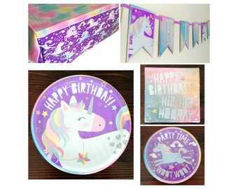 Purple Rainbow Unicorn Birthday Party Supplies ~ Plates Napkins Tablecover Banner ~ Hip Hip Hooray Unicorn  sc 1 st  Etsy & Unicorn paper plates | Etsy
