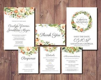 Bohemian Wedding Invitation Set, Peach Floral Wedding Invitation, Coral and Seafoam Green Wedding Invitation, Barn Wedding Invitation
