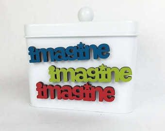 Imagine Magnet, John Lennon Magnet, Dreamers Magnet, Colorful Fridge Magnet, Wood Word Magnet