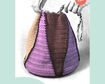 Drawstring Bag - PDF Download Vintage Crochet Pattern from the 1970's