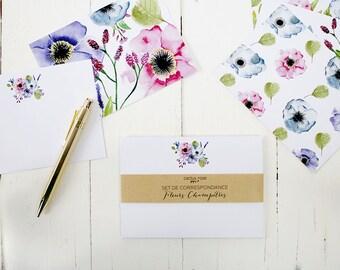 Set de correspondance floral 12 cartes - Cartes de correspondance - Cartes illustrées - Ensemble de papeterie - Fleurs Aquarelle Stationery