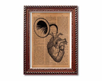 Heart anatomy print Antique medical illustration Anatomical decor