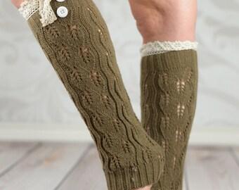 Khaki Leg Warmers With Crochet Rim