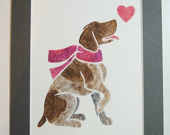 """CUSTOM - Original 10x8"""" mounted watercolour silhouette of your dog (or selected dog breed/colour), by Yorkshire artist Jess Chappell"""