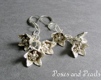 """Silver Flower Cluster Earrings, Sterling Silver and Fine Silver Metal, Lotus Design, Wedding Jewelry, Lever Backs, """"Melody"""""""