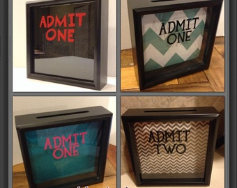 Ticket Shadow Box, ADMIT ONE, free customization , Ticket Holder Box, Concert Tickets, adventures, memories, Teen Gift, 8x8, Grandkid gift