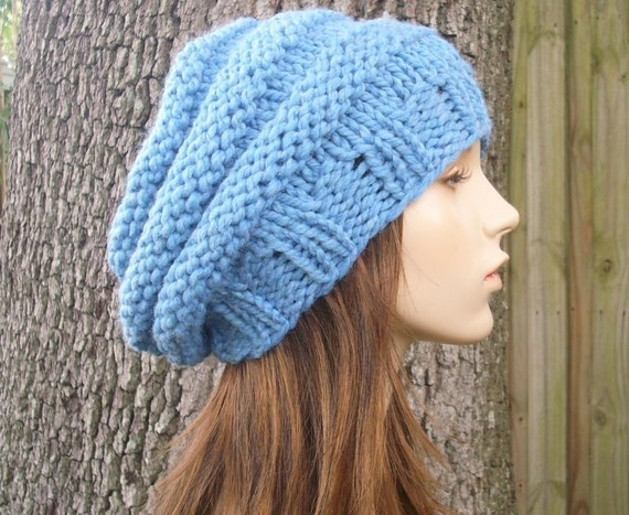 Knit Hat Blue Womens Hat Slouchy Beanie - Original Beehive Beret in Sky Blue Knit Hat - Blue Hat Blue Beret Blue Beanie Womens Accessories