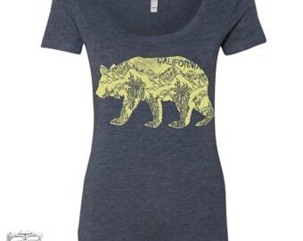 Womens CAlifornia Bear TriBlend Scoop Neck Tee  - T Shirt S M L XL XXL (+ Colors) Zen Threads