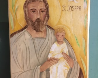 Saint Joseph And Jesus Hand Painted Acrylic Wood Block - Made to Order