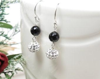 Black Onyx Earrings, Black Onyx With Pave Crystals Earrings, Black Gemstone Necklace, Elegant Earrings, Keira's Crystal Creations