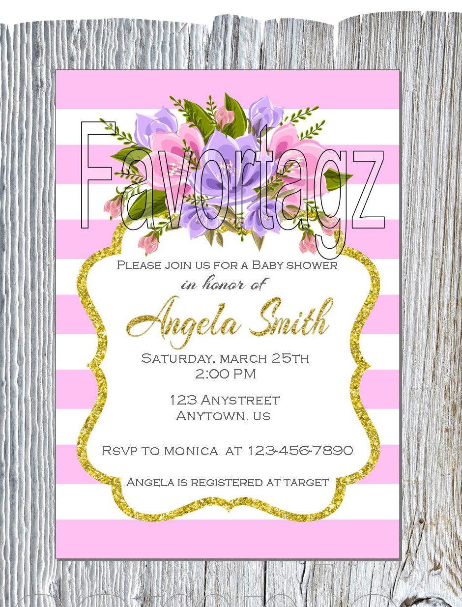 Printable Digital Baby Shower Invitation - 5x7 - Pink/Lilac/Purple ...