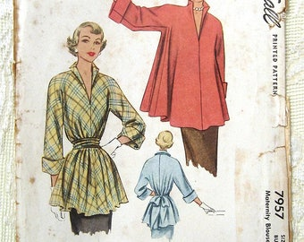 """Vintage 50s Maternity Blouse, Turn up Cuffs. McCall 7957 Sewing Pattern. Size 18,  Bust 28 1/2"""" - 30"""""""