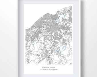 HAVANA MAP, map of havana, town map, havana print, havana minimalist poster, cuba city art, cuba wall art, cuba gifts, cuba wall art, 6040