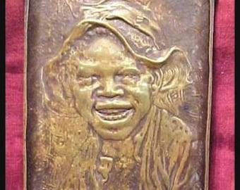 RARE Vintage Black Americana Bronze Tray Rare Trinket Tray Johnny Griffin Design
