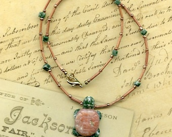 Pink and Green  Marble Stone Turtle Necklace