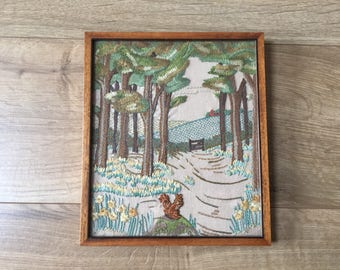 Vintage 30's Hand Embroidered Framed and Glazed Picture Panel,English country woodland path, trees, squirrel,daffodils