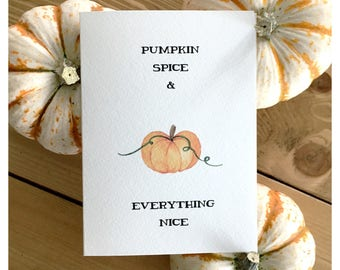 Pumpkin Card // pumpkin spice, pumpkin patch, thanksgiving card, thanksgiving, holiday, fall, halloween card, cute card, greeting card, punn
