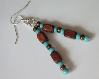 Southwest Earrings, Red Wood and Blue Turquoise Beads, Tribal, Lightweight Small Dangle, Mens Jewelry