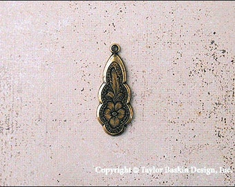 Antiqued Polished Brass Victorian Earring or Pendant Drop (item 2810 AG) - 18 Pieces
