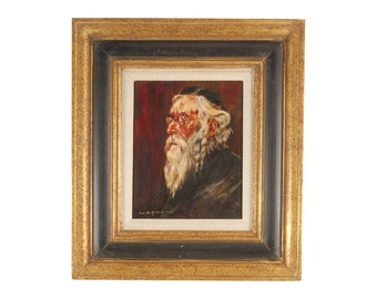 Vintage Wilhelm Lehmann German Oil Painting of Jewish Man Rabbi