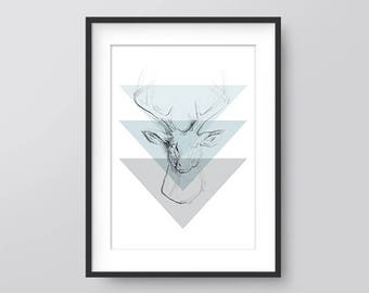 Geometric Deer Sketch Print, Wall Prints, Printable Wall Art, Home Print, Downloadable Wall Prints, Deer Art, Office Print, Deer Sketch