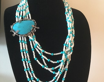 Vintage Turquoise Pearl Bead Bib Necklace Dragonflies Roses