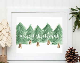 Modern Farmhouse - Merry Christmas - Holiday Watercolor Artwork Print