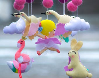 Baby mobile Baby Crib Mobile, Felt Mobile,  cloud mobile,Baby mobile,  flamingo mobile Ballerina mobile owl mobile  bird mobile bunny mobile