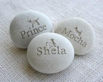 Desktop pet memorial stone - Companion Stone - Pet tribute on beach stone by sjEngraving