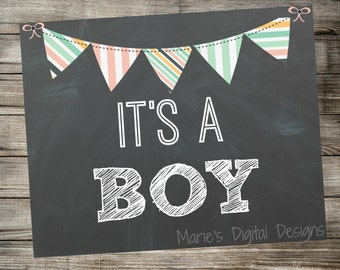 INSTANT DOWNLOAD - It's a Boy - Chalkboard Gender Reveal Photo Prop - Printable Digital Download