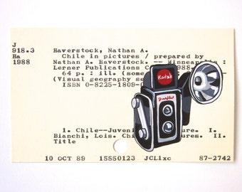 Vintage Camera Library Card Art - Print of my painting of Kodak Duaflex on library card catalog card